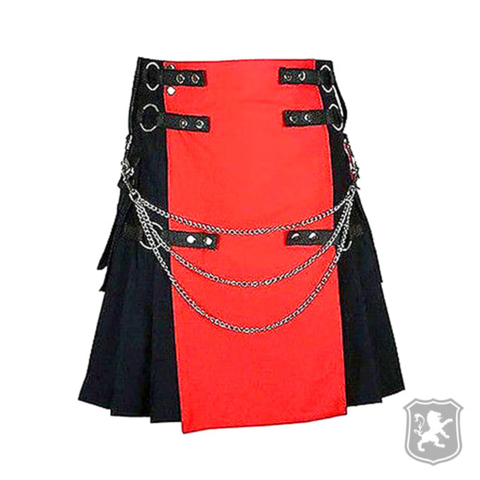 black and red deluxe utility kilt, utility kilt, utility kilts, utility, kilts, kilt. deluxe kilts, kilt for sale, kilt buy online, kilt sale,