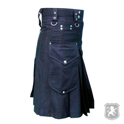 black utility kilt, kilt with chrome hooks, utility, kilts, kilts online, kilt for sale, kilt buy online, utility kilt for sale,