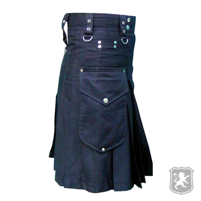 black utility kilt, kilt with chrome hooks, utility, kilts, kilts online, kilt for sale, kilt buy online, utility kilt for sale,