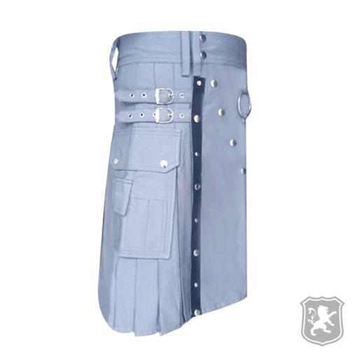 grey utility kilt with leather straps, grey utility kilt, utility kilts, utility, kilt, kilts, kilts for sale, buy kilts online, scottish kilts, kiltzone,