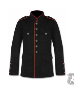 Black Military Jacket With Red Lining, gothic jackets, goth, gothic, goth jacket, goth jackets, goth jackets buy online, shop gothic jackets, shop goth, shop goth jackets, goth jackets for sale, goth sale, goth jackets online,