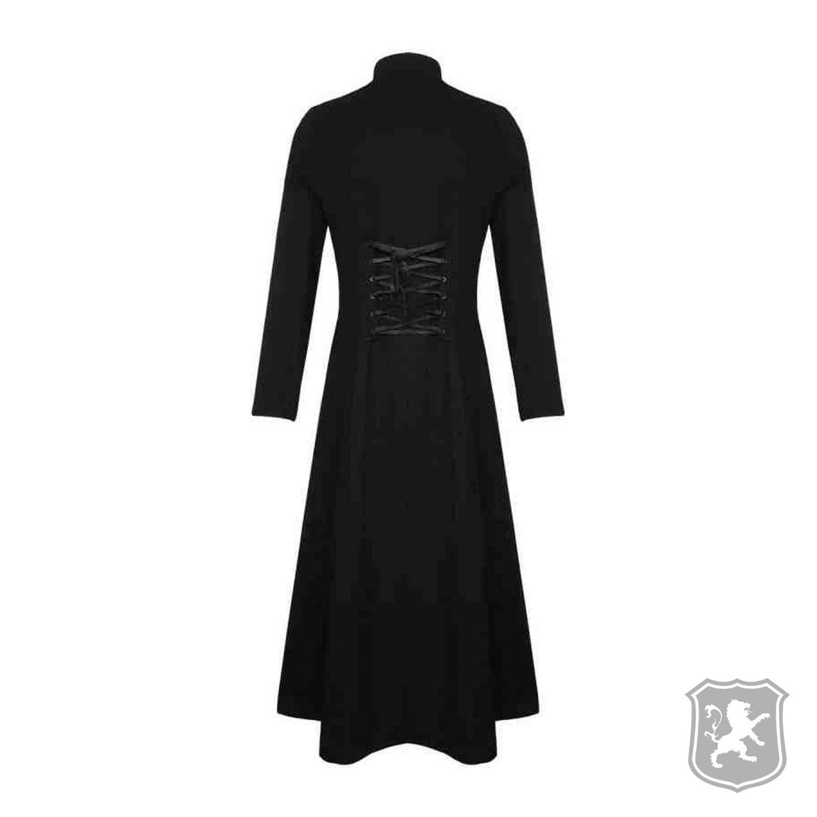 f36587ec2 Black Steampunk Military Trench Coat Long Jacket