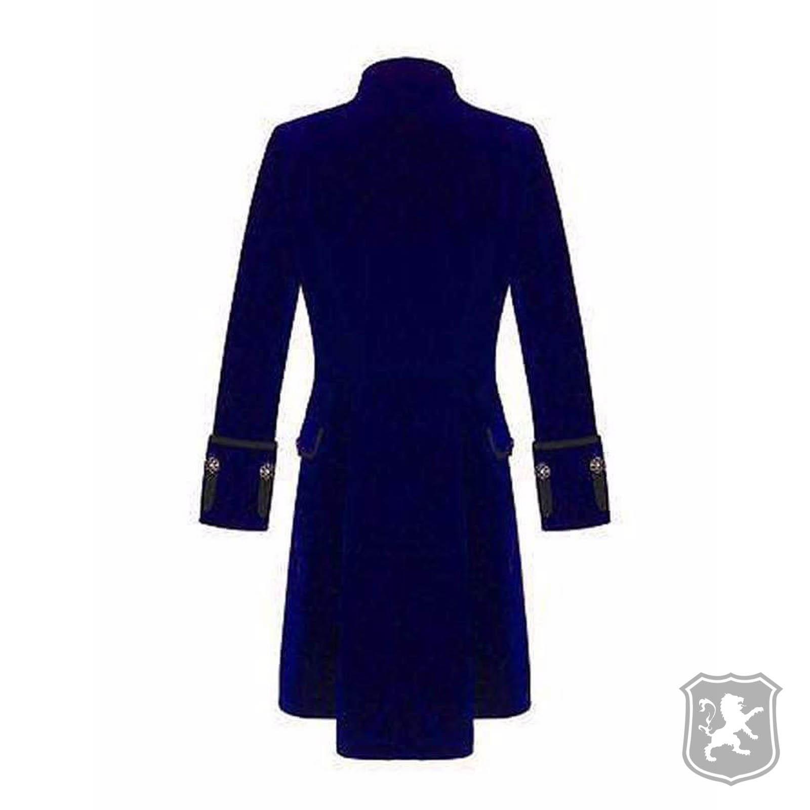 f78aef7125b Royal Blue Velvet Goth Steampunk Victorian Frock Coat Jacket