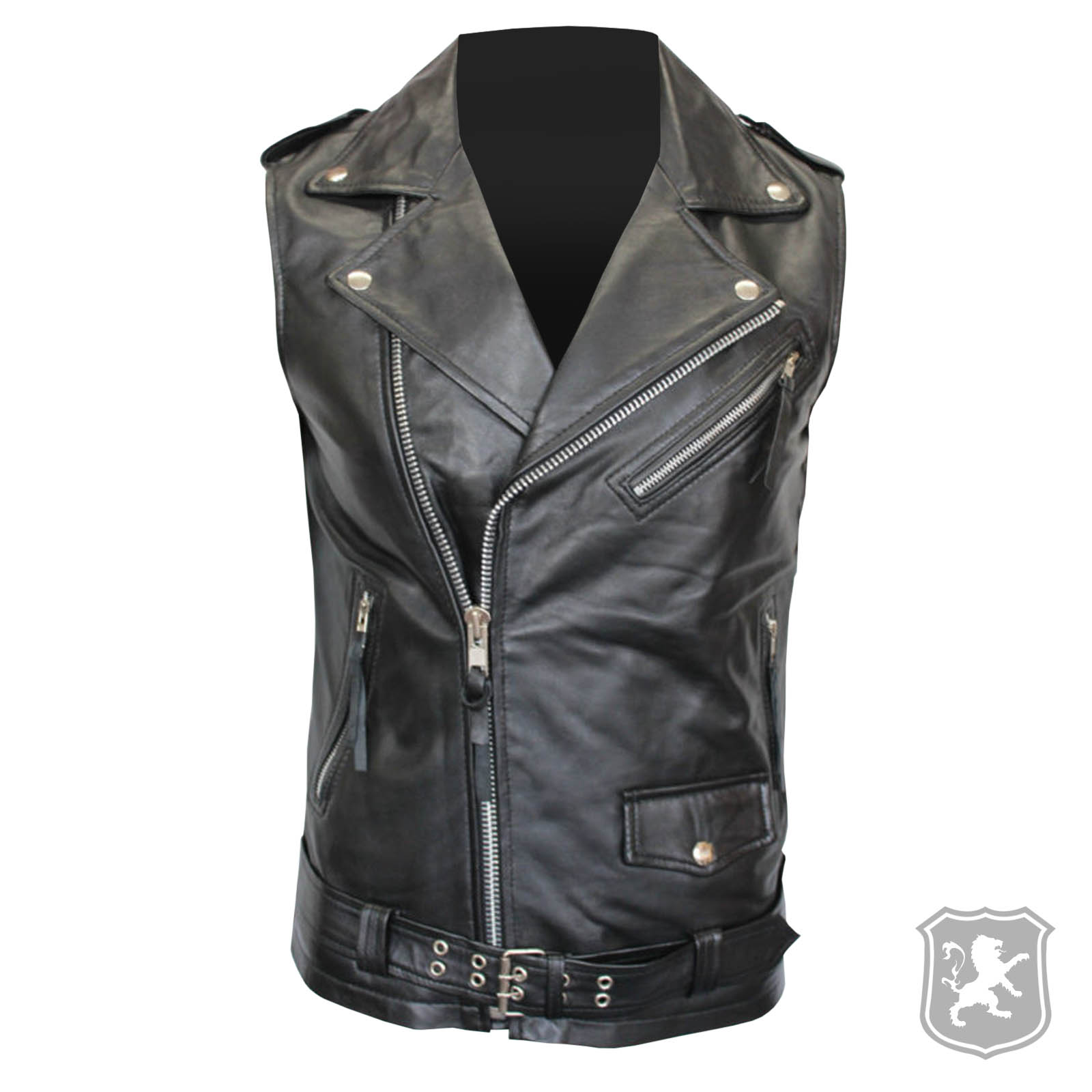 e8e2191aef0619 Brando Vintage Motorcycle Black Leather Vest