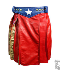 wonder woman kilt, wonder woman, woman kilts, kilts for women, kilts for sale, leather kilts for women, leather kilts, leather kilt for sale,