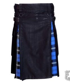 hybrid kilt, black and blue hybrid kilt, black and ramsay tartan kilt, ramsay tartan hybrid kilt, kilts by kiltzone, kilts for sale, hybrid kilts for sale