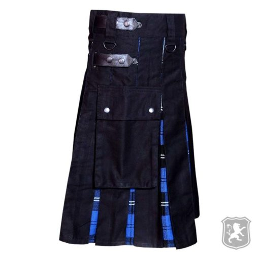 hybrid kilt, black and blue hybrid kilt, black and ramsay tartan kilt, ramsay tartan hybrid kilt, kilts by kiltzone, kilts for sale, hybrid kilts for sale
