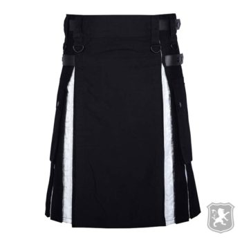 modern black white utility kilt for sale, modern kilts for sale, black utility kilts for sale, black utility kilt, utility kilts for sale, buy utility kilts,