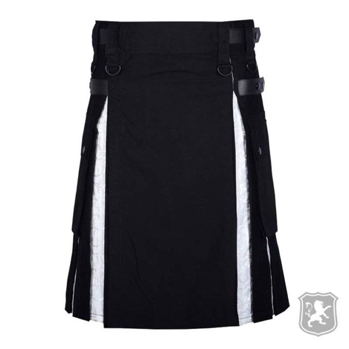 modern black white utility kilt for sale, modern kilts for sale, black utility kilts for sale, black utility kilt, utility kilts for sale, buy utility kilts,